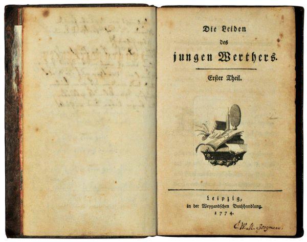 """""""Os sofrimentos do jovem Werther"""", publicado em 1774. Foto H.-P.Haack. - Sammlung H.-P.Haack, Antiquariat Dr. Haack Leipzig, Privatbesitz."""